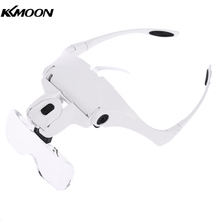 magnifying glass Headband Eye Repair Magnifier 2 LED Lights 1.0/1.5/2.0/2.5/3.5X 5 Lens  Jewelry Loupe ingrandimento watchmaker