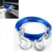 5 Ton 4m Car Vehicle Boat Steel Wire Tow Rope Towing Pull Strap Rope With Hook Heavy Duty