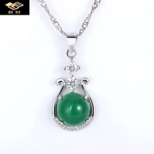 925 Sterling Silver Necklace Pendant Natural semi-precious stones green chalcedony women jewelry girlfriend gift(China)