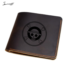 Genuine Leather Men Wallet Purse laser engraved ONE PIECE Purse Luffy Pirate Skull Head Comics Wallet Male(China)