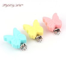 TYRY.HU Safe BPA Free Silicone Teething Clips Holder Stainless Steel Dummy Clips Candy Color Pacifier Butterfly Clips 3pcs/set(China)