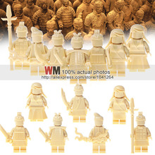 Single Sale PGPJ7003-7009 Building Blocks Golden MOC Qin Dynasty Qin Terracotta Warriors and Horses Accessories Kids Gift Toys