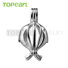 SWP09 Topearl Jewelry 5pcs/LOT 925 Sterling Silver Love Wish Pearl Pendant Double Dolphin Cage