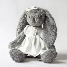 Plush toy grey rabbit wear white linen skirt beautiful bunny new design high quality sitting tall 28cm total 45cm