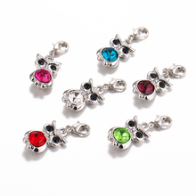 Fashion charm with a lobster clasp swing rhinestone owl charm animals DIY pendant jewelry manufacturing accessories(China)