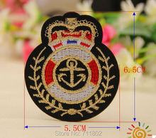 6.5 x 5.5cm Navy anchor mark logo iron on patches biker patch embroidered Badge Jacket Motorcycle Club Biker outlaw MC custom