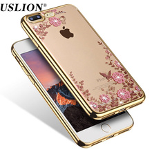Luxury Diamond Phone Case for Apple iPhone 5 5s SE 6 6s Plus Soft Plating TPU Secret Garden Flower Phone Back Cases Cover
