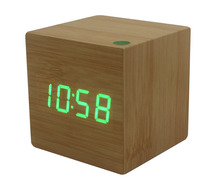 Multicolor Wood Wooden Red Ligh Alarm Clock LED Display Voice Sound Activated mini usb office table Digital Alarm Clock(China)
