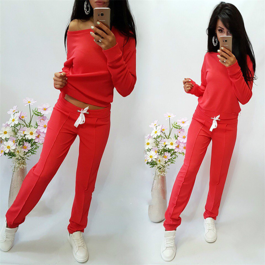 Autumn Two Piece Set Women 2018 Casual Women Sporting Suit Solid Hoodies Sweatshirt and Long Pants Suit Set Tracksuit Women Top