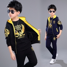 Boys Clothing Set 3pcs For Big Kids Hooded Vest Jacket T-shirt Pant Clothes Suit Children's Sports Suit Boys Child 3-12Years Old(China)