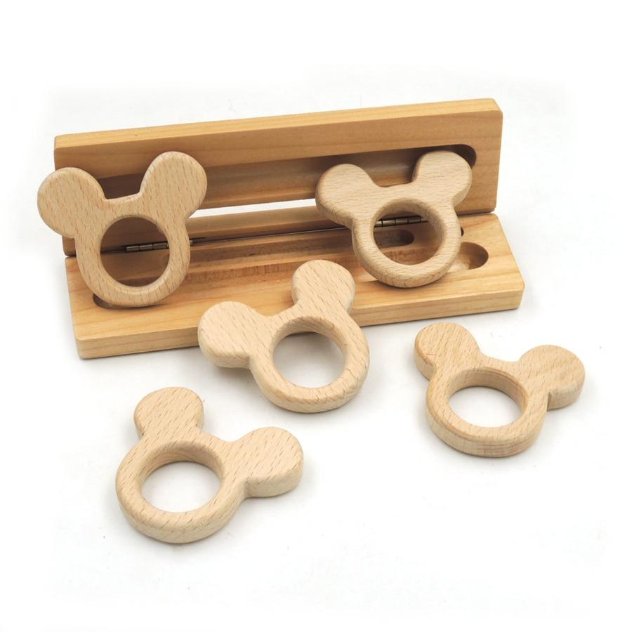 10 pcs beech wooden rabbit teether animal teething charm baby teether eco-friendly Montessori Inspired baby gift DIY EA272