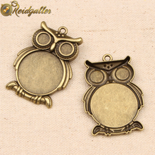 10pcs Vintage Antique Bronze Owl Cabochon Base Settings 25mm Round Blank metal alloy Pendant Trays diy Jewelry Necklace findings