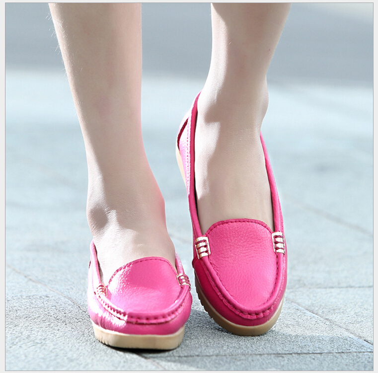 2017 Shoes Woman Genuine Leather Women Shoes Flats Loafers Slip On Womens Flat Shoes Moccasins 4 Colors <br><br>Aliexpress