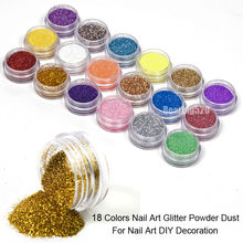 Free Shipping 18 Colors UV Gel Nail Art Glitter Dust Powder Tool Kit For Acrylic UV Gel Nail System(China)