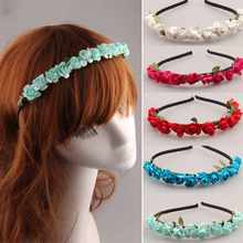 Festival Women Bride Boho Style Floral Rose Flower Hairband Headband for Festival Party Wedding Prom Hair Accessories Photos