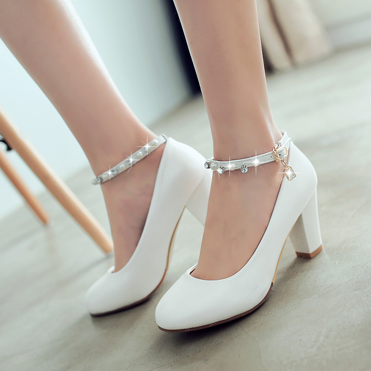 2017 New Word Buckle Women High Heels Shoes Small Size 32-33 Princess Female Diamond Beads Thick with single shoes size 40-43<br>