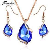FAMSHIN Bridal Wedding Accessories Gold Color Love Crystal Jewelry Sets For Women Pendent Necklace Hook Earrings Jewellery Set(China)