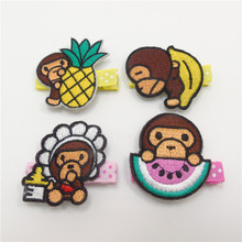 10pcs/lot Cartoon Monkey Hair Clips with Fruit No Slip Velour Banana Pineapple Milk Bottle Hairpin Kid Dot Girls Barrettes