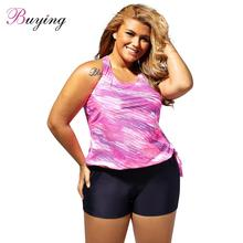 Plus Size Sexy Women Swimsuit Swimwear Tankini Top Shorts Set Print Pockets Bathing Suit Beachwear Rose/Blue Beach Cover Up