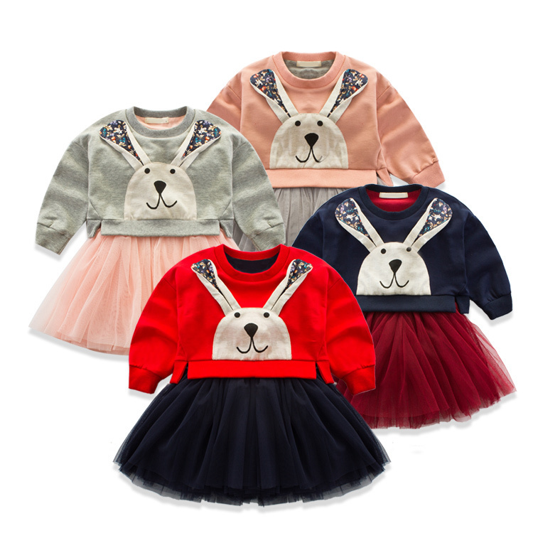 2016 Spring Korean Childrens Garment Girl Baby Long Ears Leveret Split Joint Yarn Dress Girl Jacket<br>