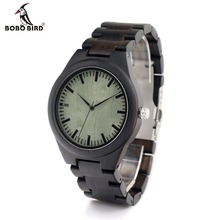 BOBO BIRD H03 Mens Top Brand Design Green Wood Dial Full Bamboo Wooden Watches for Men in Gift Box Dropshipping