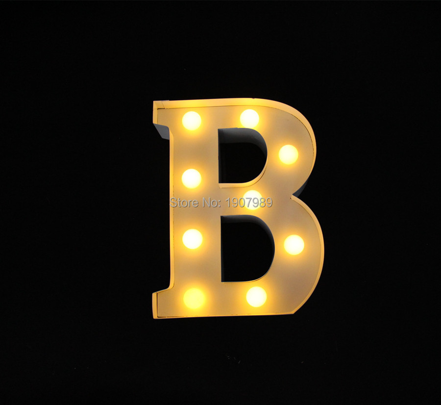 9 White metal Letters light LED alphabet Marquee Sign Vintage metal letter signs light Indoor wall Deration customize order<br><br>Aliexpress