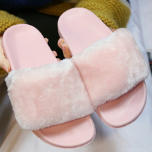 2017 Brand Women Summer Fashion Faux Fur Female House Slide Plush Slipper flipflop Sandals Fluffy Flip Flop furry mule Lady Shoe