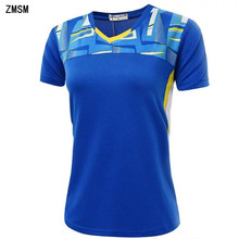ZMSM Women Tennis Shirts Breathable Quick Dry V-neck Sports outdoor Shirt High-quality Badminton Table Tennis clothing NM052(China)