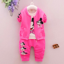 New Spring Autumn Baby girls Cartoon Minnie Mouse Clothing Sets Kids Girls Clothes Suits Toddler 3 Pcs Casual Sport Tracksuit