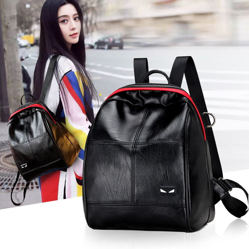 2017 Fashion PU Leather Backpack Women Designer bags High Quality New Casual Black School Bags For Teenagers Girls sac a dos<br><br>Aliexpress