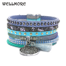 Buy WELLMORE 17 summer leather bracelet 6 color 3 size Bohemian bracelets boho bracelets & bangles women Christmas gift B160805 for $3.93 in AliExpress store