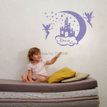 Creative Moon Stars Fairies Castle Wall Stickers Dream Big Vinyl Art Lettering Decal for Kids Girls Room Decor