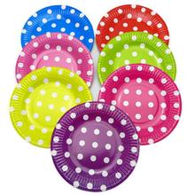 "10 pieces 7"" Lovely  Round Square Paper Plates Polka Dots for Valentine Birthday Wedding Nursery Party Tableware Party Supplies"