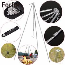 Forfar Outdoor Camping Picnic Cooking Tripod Hanging Pot Durable Portable Picnic Pot Cast Iron Fire Grill Hanging Tripod