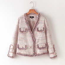 2017 Autumn Winter Runway Collection Designer Pink Elegant Tweed Classic Chan Pearl Coat Jacket Haute Couture High End(China)