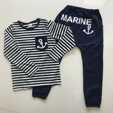 2017 Casual Boys Clothing Set Spring Autumn Kids Clothes Navy Long Sleeve Pullover Striped Sports Suit for Children(China)