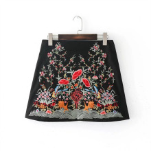 Buy Women Flower Embroidery Zipper Skirts Rivet Design Faldas European Style Fashion Streetwear Black Mini Skirts for $14.61 in AliExpress store