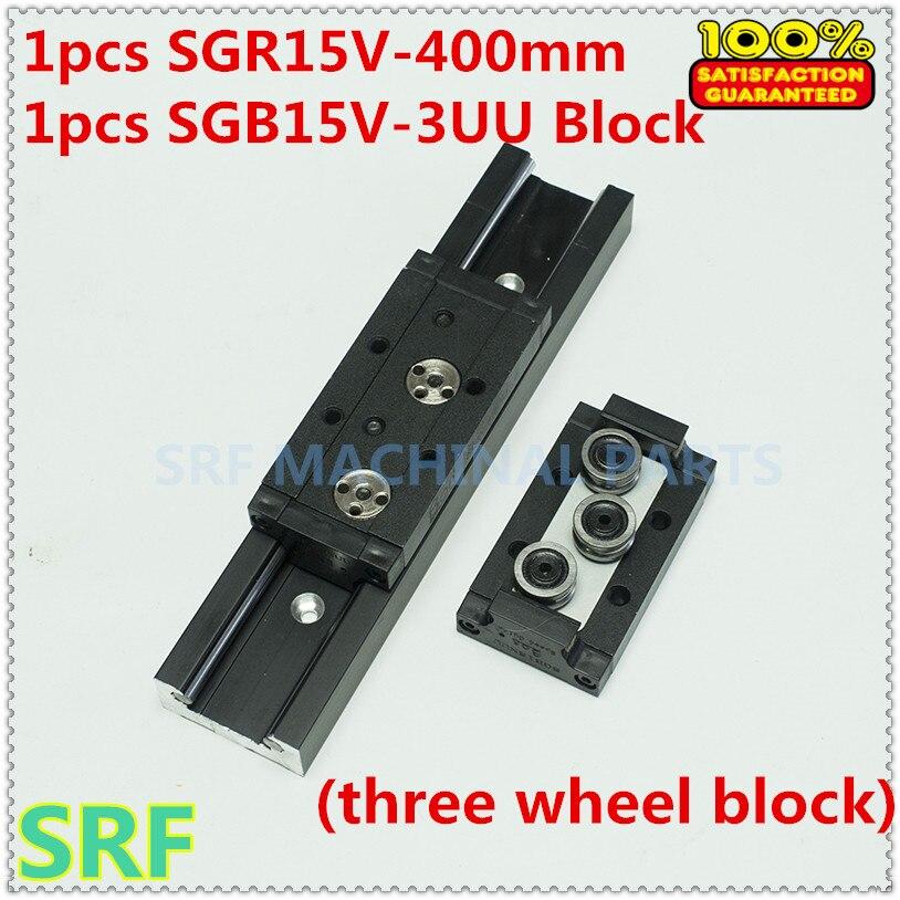 38mm width Aluminum Square Roller Linear Guide Rail 1pcs SGR15V Length=400mm +1pcs SGB15V-3UU three wheel slide block<br>