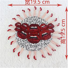 Sequins 19.5cm Lip Heel Logo Patch Embroidered Sticker Patches For Clothing Deal With It Clothes Fabric Badges Motif Applique(China)