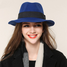 Queen Vintage Black Blue Wine Red Gray Hats For 2017 Winter Ladies Wool Bowler Fedora Fashion Jazz Hat Women