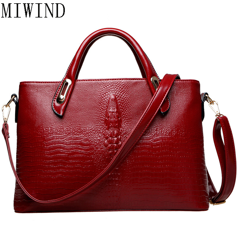 MIWIND Womens Top-Handle Bags Alligator Shoulder Bag Female 2017 Luxury handbag Messenger bags Big Capacity handbags TYY664<br>