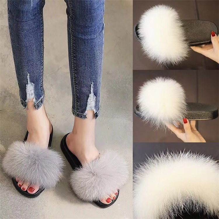 fur slippers grey light 4