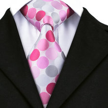 A-1442 Jacquard Silk Ties For Men 2016 New Design Mens Suits Ties Red White Pink Polka Dot Neck Ties Fashion Gravatas(China)
