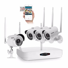 ANNKE 4CH 720P Wireless NVR CCTV System 4PCS IR outdoor 1.0MP WI-FI IP Camera home Security Cameras in Video Surveillance Kit(China)