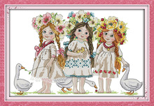 Young girls Needlework DIY Cross Stitch Set For Embroidery kit handmade Cross-Stitching Innovation Items Home Decor Wall Hanging