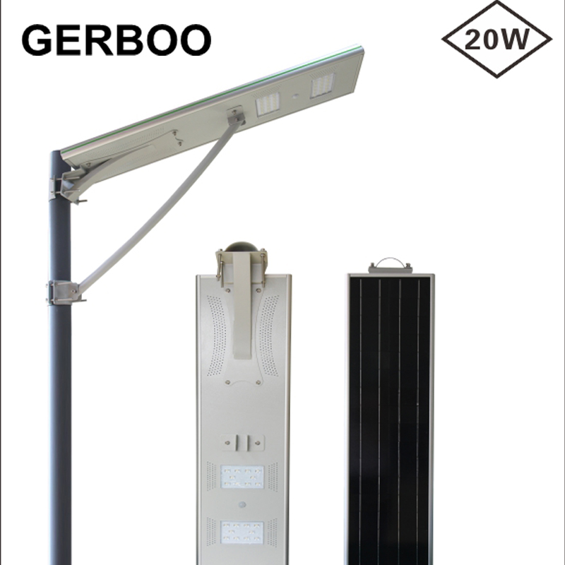 High lumen solar outdoor lamp IP65 waterproof all in one led street light 20w integrated solar street(China (Mainland))