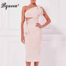 Bqueen New Black Red Pink Women Female Spring One Shoulder Cut Out Bodycon Bandage Dress Vestidos Sexy Split Party Dresses(China)