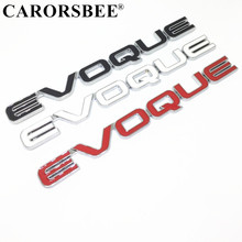 EVOQUE Logo 3D Metal Tail Emblem Badge Auto Exterior Rear side Turbo Decals Car Sticker LAND RANGE ROVER Evoque Discovery