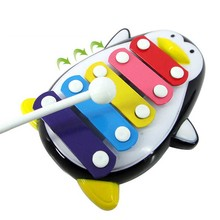 2017 Kawaii Penguin Shape 5-Note Baby Musical Toys Miniature Musical Instruments Wooden Toys Training Educational Toys(China)