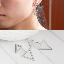 8SEASONS New Fashion Ear Jacket Triangle Silver Tone / Gold color W/Stoppers 16mm x15mm 4.4cm x 2cm, 1 Pair(China)